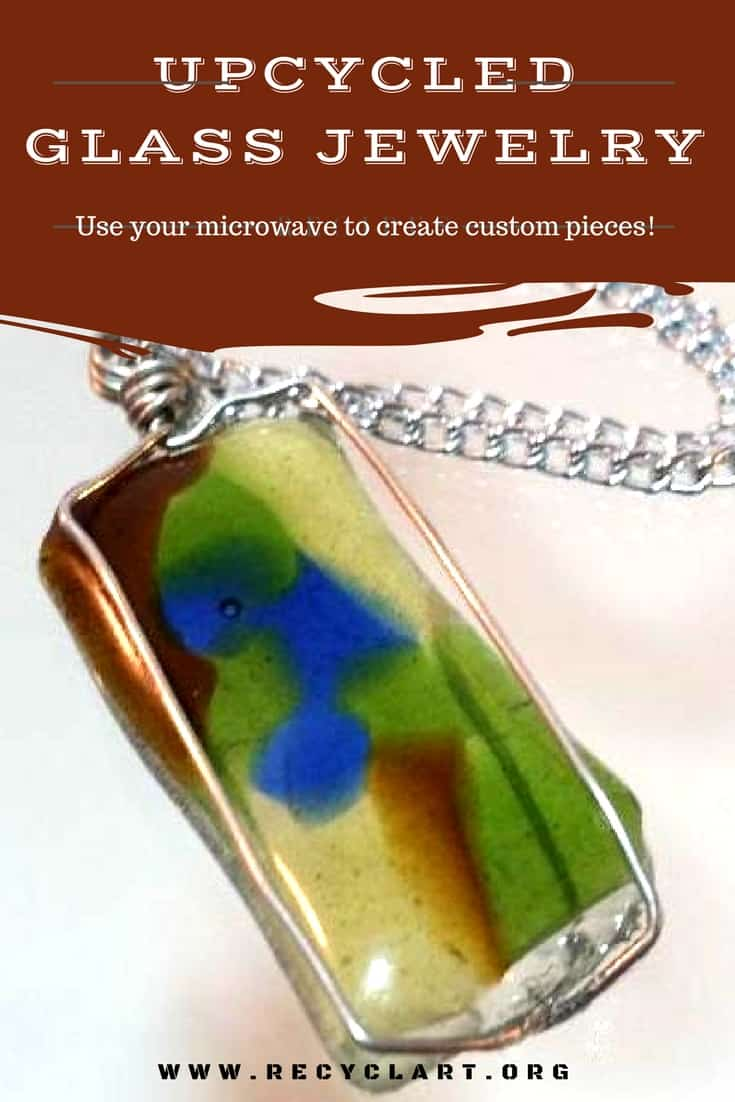 Upcycle old glass into custom jewelry in your microwave!  Using a microwave kiln, melt glass that you cut and lay out into patterns and create unique items! Make earrings, necklaces, bracelets and more! #upcycledglassjewelry #diyglassjewelry