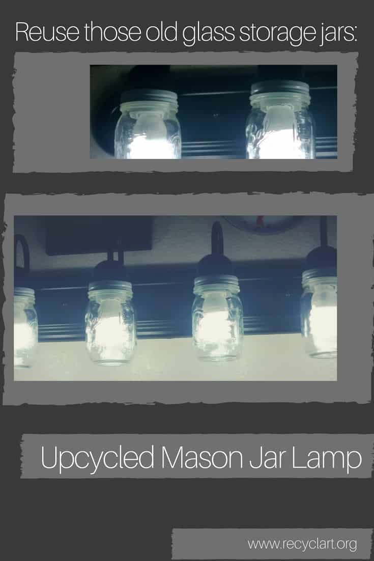 Turn those old jars into a unique Mason Jar Lamp Fixture! Update a boring, plain, off-the-shelf bathroom fixture with this fun upcycling idea. Use mason jars! #masonjarlight #masonjarlamp #upcycledlamp #diylhomedecor #diyawesome