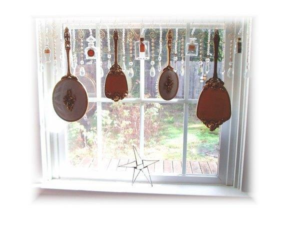 This Mirror Set works with the sparkly crystals as a sun catcher.