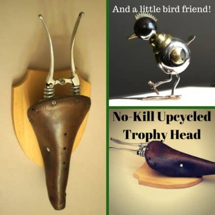 Upcycled No-kill Trophy Head Has Mechanical Bird Friend