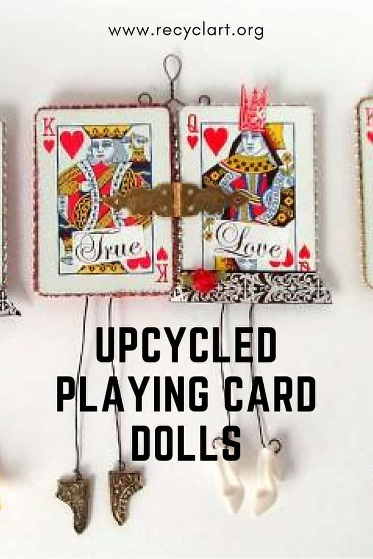 If you're a few cards short of a full deck, turn the rest into these clever little Upcycled Playing Card Dolls! Make a unique card for that queen or princess in your life!  #royaltycards #upcycledcards #upcycledgiftideas