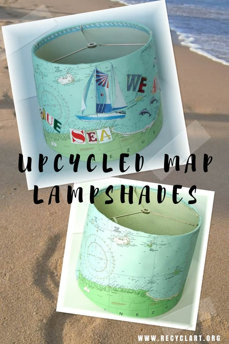 Dream of travels that'll be with an Upcycled Map Lampshade! Upcycle an old yachting map, or outdated world map. Add words from magazines to decorate. #upcycledlampshade #upcycledmap #dreamoftraveling #upcycledmagazines