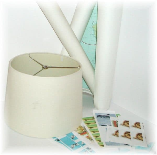 First, gather supplies, including an old lampshade, maps, and old scrapbooking supplies.