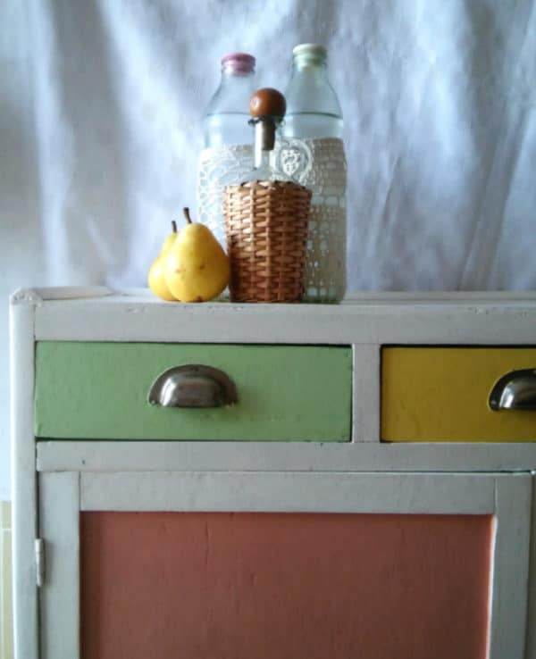 Bright, Cheery Upcycled 1950's Cabinet Recycled Furniture Wood & Organic