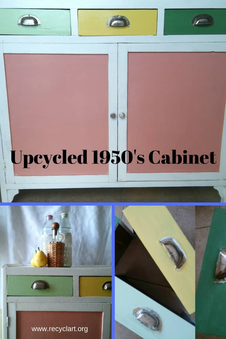 Rescue and upcycle a 1950's Cabinet & add color! With some elbow grease, gel paint stripper, & some fun, festive colors, you can create great storage solutions! #upcycledcabinet #diystoragesolutions #recyclart #addcolor