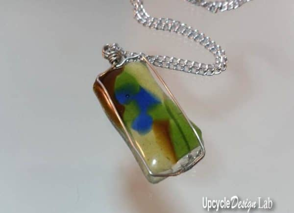 #2 Top 5 Ideas of 2018 was this fused glass pendant made in the microwave.