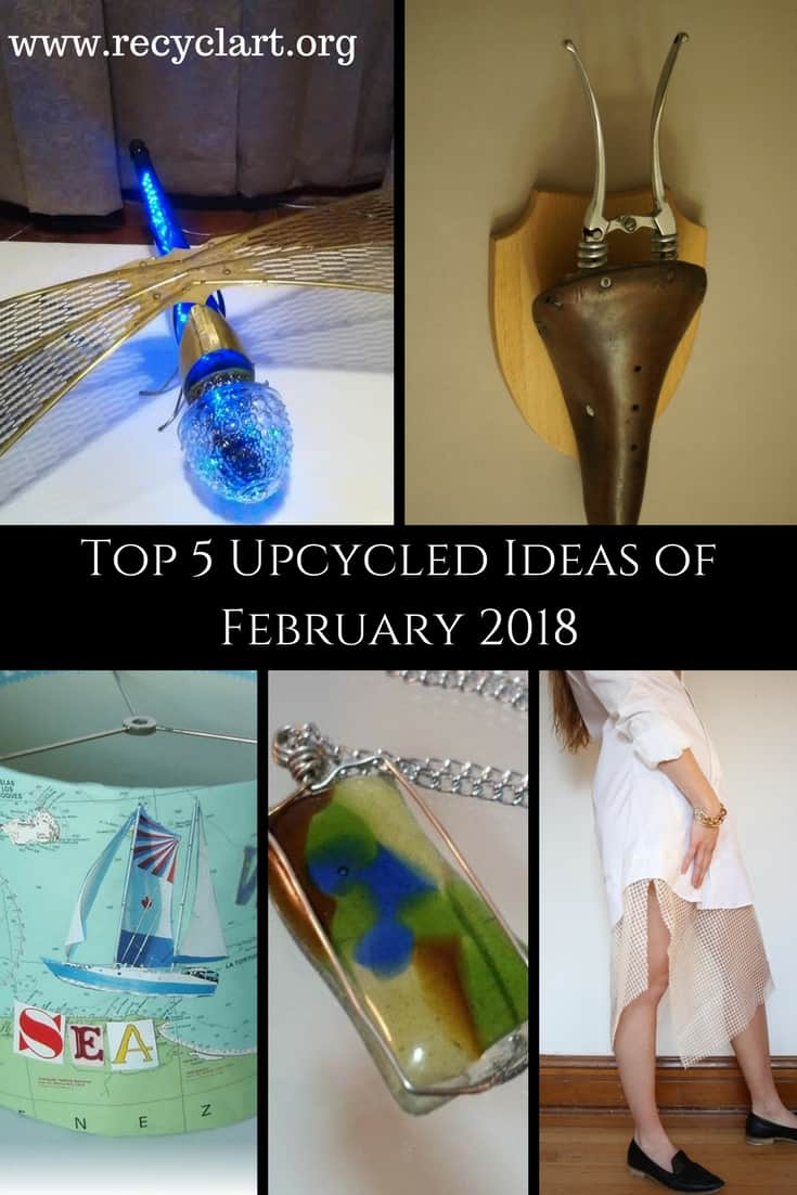 Find great ideas from our February Top 5 Projects of 2018! Upcycle glass, metal, fabrics, paper and more. With over 5,500 ideas and growing, you'll be inspired! #upcycleddragonflylamp #upcyclednokilltrophy #upcycledfusedglass #recyclart