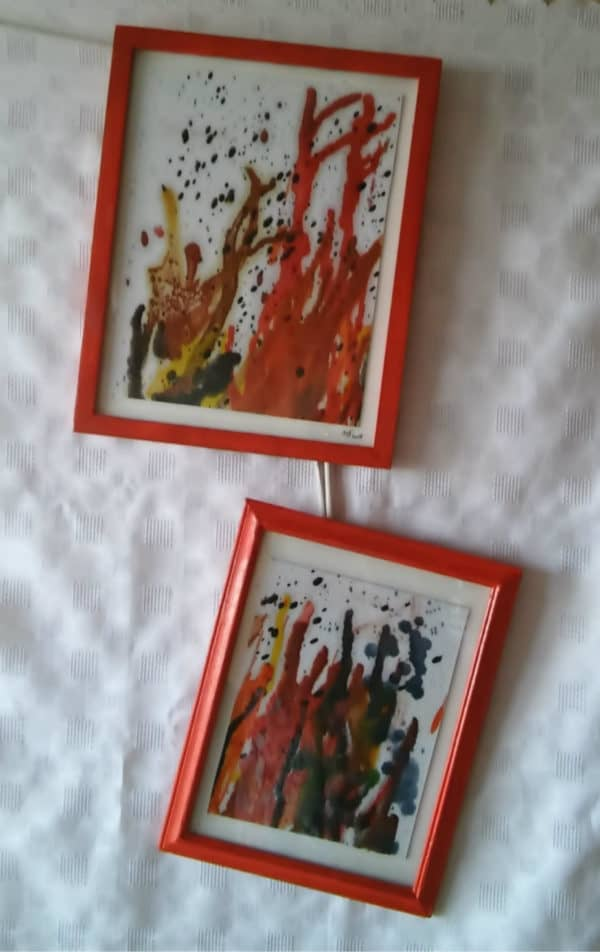 My finished Upcycled Crayon Art pieces.