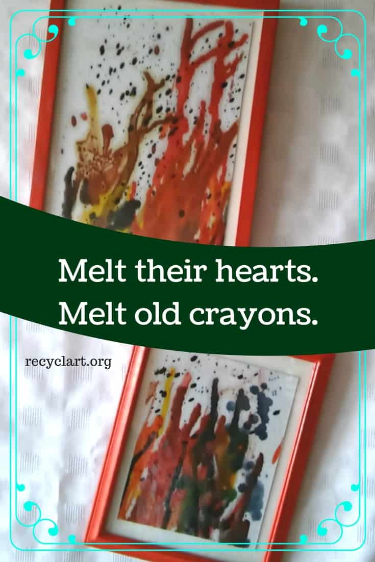 Put broken crayons to pretty reuse & make melted crayon art! Drips, splotches, runs and layers of colors make the unique artwork more interesting to look at! Add a helper and make a series of wall art pieces for your walls. #diyartwork