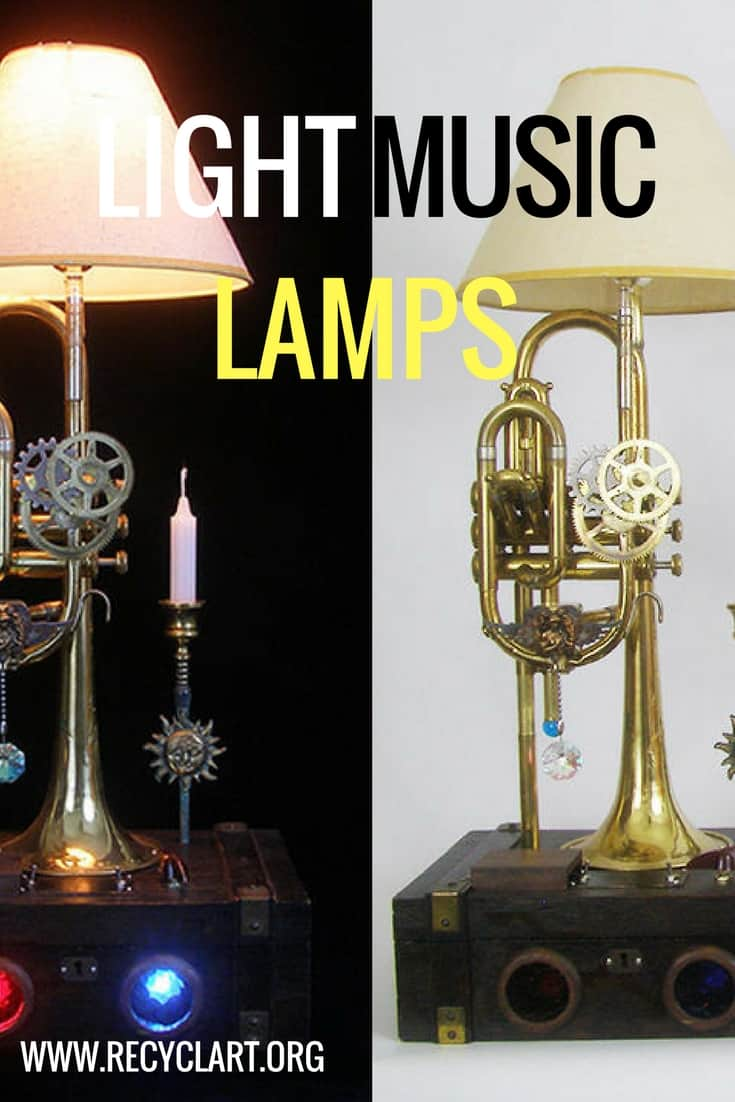 Upcycle instruments into light-tastic LightMusic Lamps! From coronets to trombones & more, turn old musical pieces into gorgeous sculptures that light your life! #lightmusiclamps #recyclartideas #upcycleoldinstruments #diylampsandlights