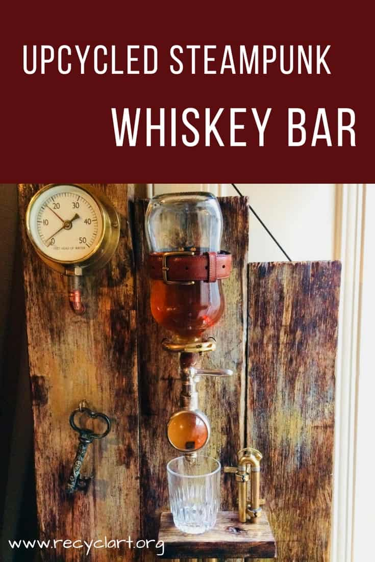 Upcycled Steampunk Portable Whiskey Bar Recyclart