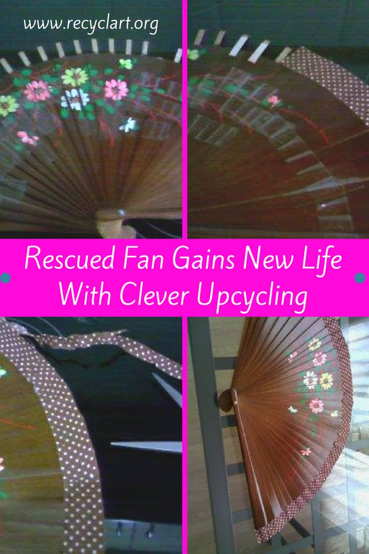 Repurpose a broken fan into a functional art piece easily! With a bit of ribbon, fabric or hot glue, and a pair of scissors, rescue that broken item quickly! #diyupcycling #recyclart #ribbon #dontthrowitout