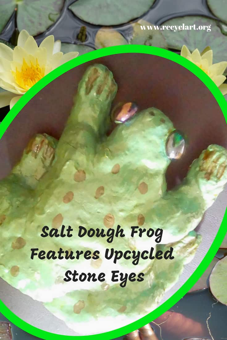 Ribbit! This salt dough frog features upcycled stone eyes! This is a family-friendly project where you can upcycle leftover beads, buttons, or other items while having a great day with the kids. #saltdoughfrog #diyfamilyfunday #upcyclingisawesome