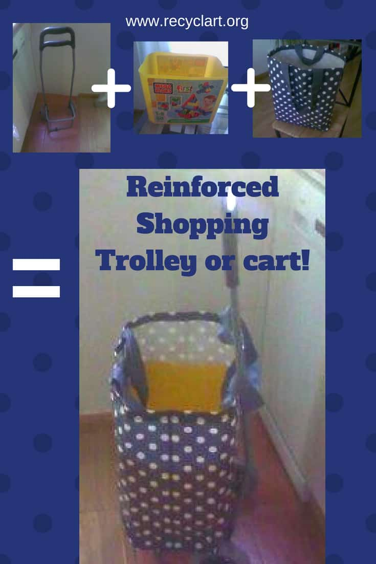 Upcycle a toy container and make a sturdy shopping cart! We used a building blocks container to create a durable, tear and puncture resistant shopping tote! #upcycledplasticcontainers #supershoppingcart #savemoney