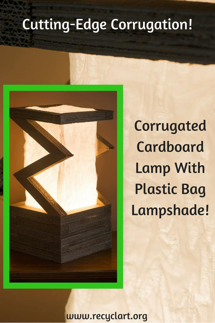 Cool Corrugation: Upcycled Cardboard Lamp Is Modern Art! <3 This functional art project is an idea anyone can create with a little time, glue, and a light kit! Upcycle that old corrugated cardboard and a plastic bag into an illuminating idea for your home or office! #diylights