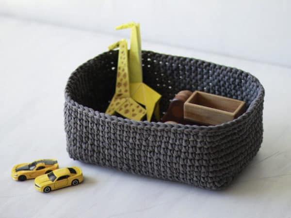 These T-shirt Yarn Baskets are soft and machine-washable! Perfect for use in your kid's room!