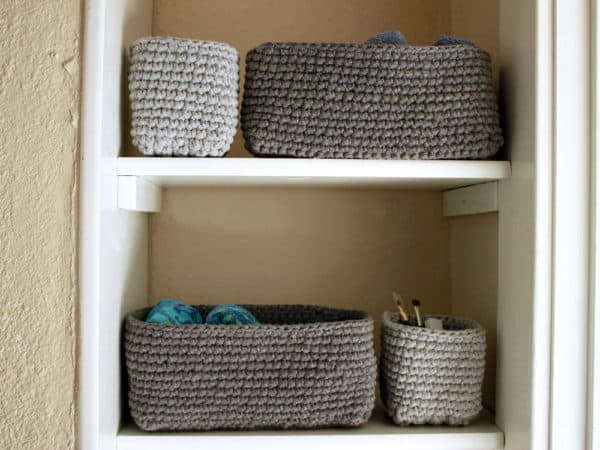 This project allows you to size the T-shirt Yarn Baskets to the space you have!