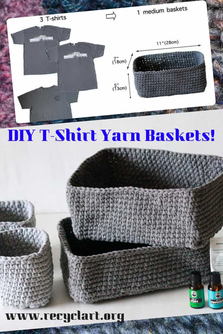 Upcycle old shirts into gorgeous DIY T-Shirt Yarn Baskets! Watch an included DIY Video Tutorial and cut a shirt into a continuous piece of \