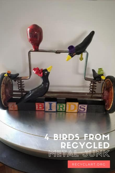 4 Birds From Recycled Metal Junk