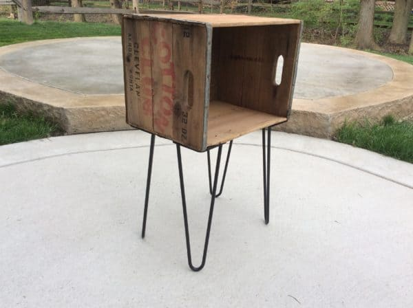 Antique Wood Crate Turned Into Side Table