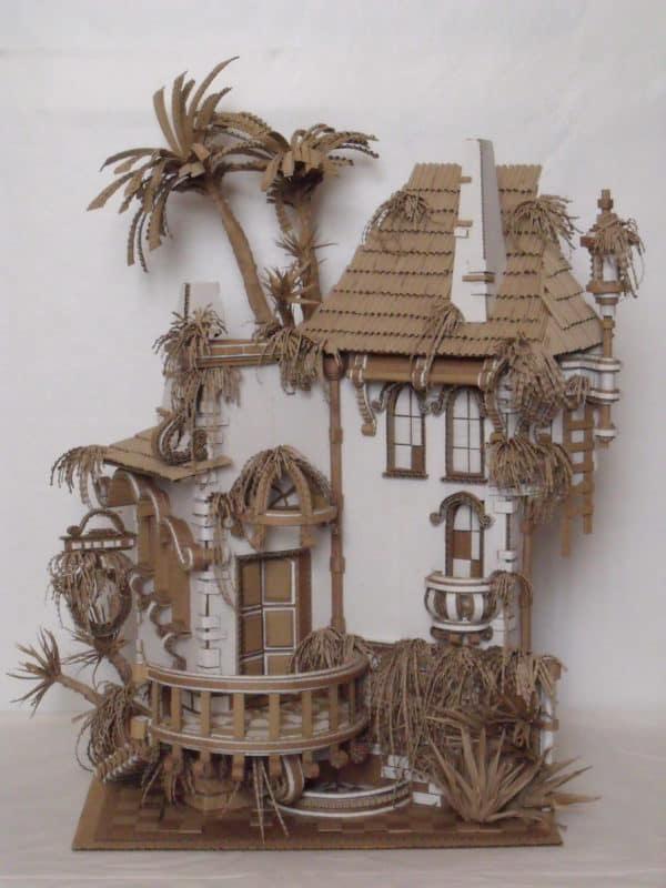 "Cardboard ""Abandoned House"" Recycled Cardboard"