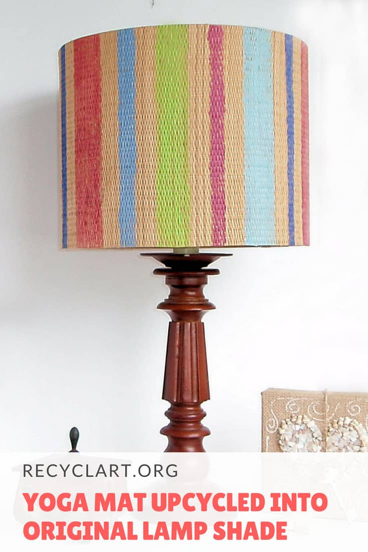 Give a fresh new look to your old lamp with this upcycled lampshade made from an old Yoga mat!