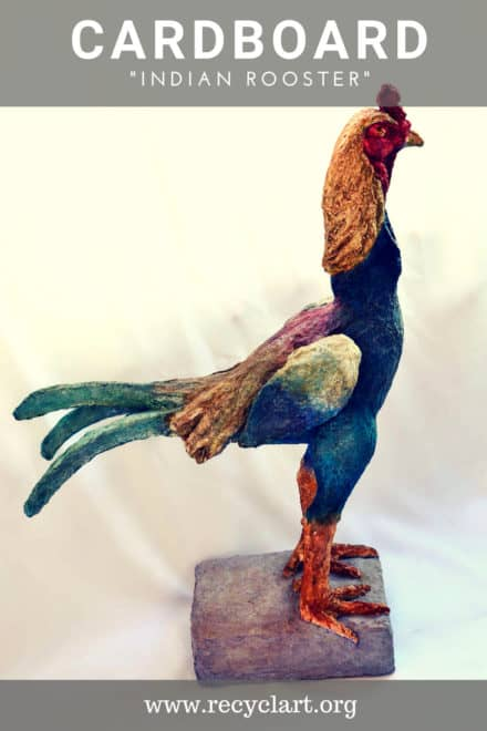 Indian Rooster Cardboard  Sculpture