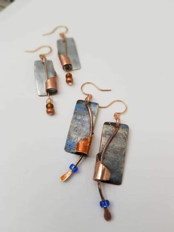Upcycled Chromed Copper Artisan Earrings