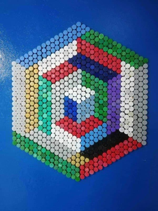 Upcycled Plastic Bottle Cap Mosaics