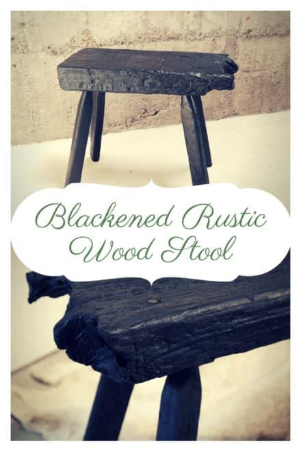 Blackened Rustic Wood Stool