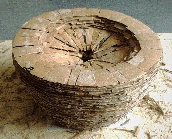 Recycled Cardboard Wasp Nest Pot
