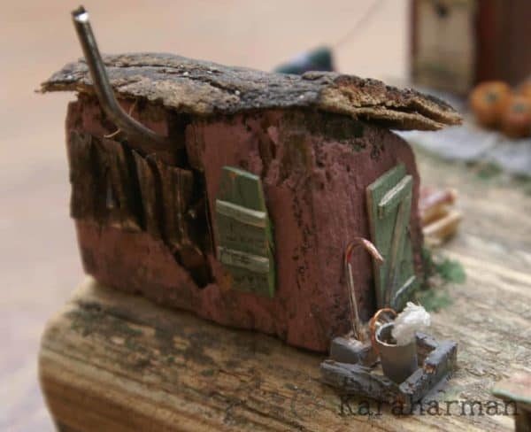 "Wooden Miniature Scene: ""someone's Grandma's House"" Recycled Art"