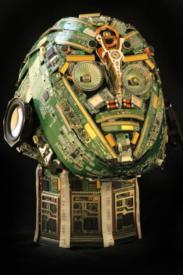 Bust sculptures made from e-waste Recycled Art Recycled Electronic Waste