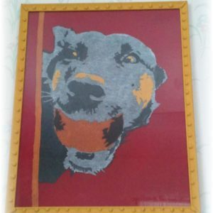 Upcycled-T-shirt-art-dog-framed