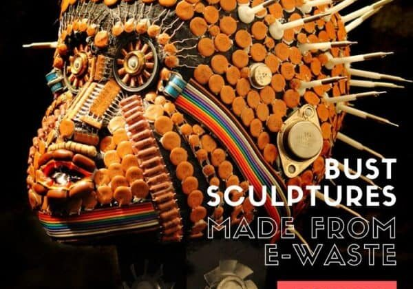 Bust sculptures made from e-waste
