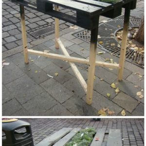 Party table from pallet at Christmas market in Bratislava - industrial look 1