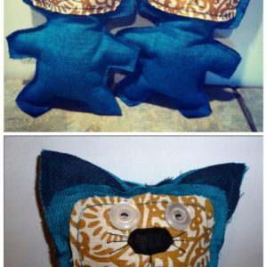 Stuffies made from fabric samples and old buttons 1
